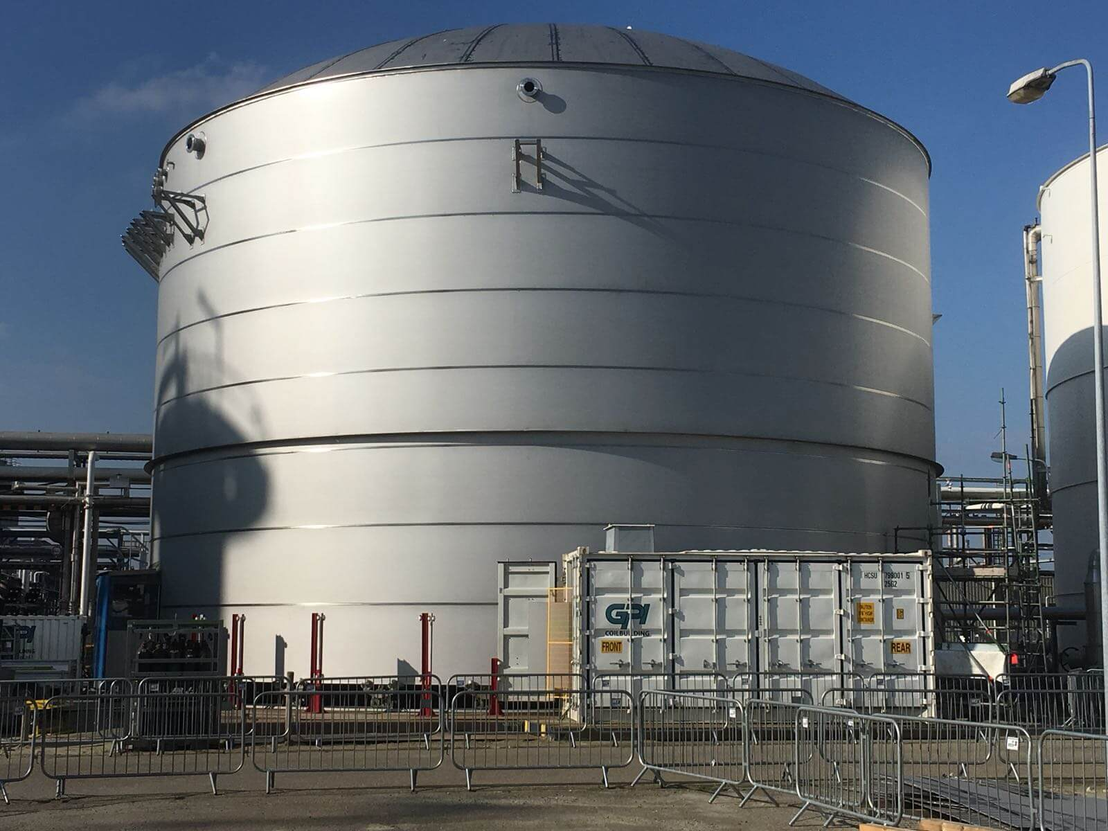 Gpi has build a 3995 m3 demiwater tank for Dow Chemicals Terneuzen